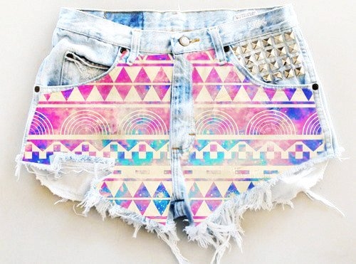 Aztec Print High Waisted Shorts - Ripped Aztec Print High Waisted... - Shorts - Denim: Love It by Afroditi Kazantzi