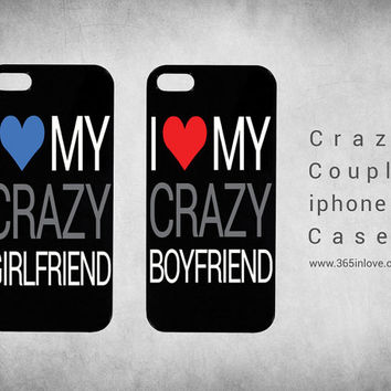 Cute Matching Couple I Love My Crazy Boyfriend and Girlfriend Coupl Phone Case, iPhone 4 4S/5 on Wanelo