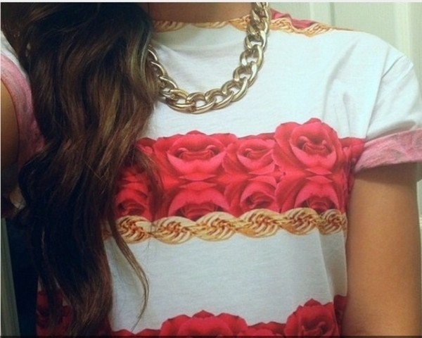 shirt red white gold t-shirt roses top jewels