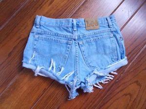 Vtg 80s 90s High Waist Distressed Lee Cut Off Blue Denim Jean Festival Shorts | eBay