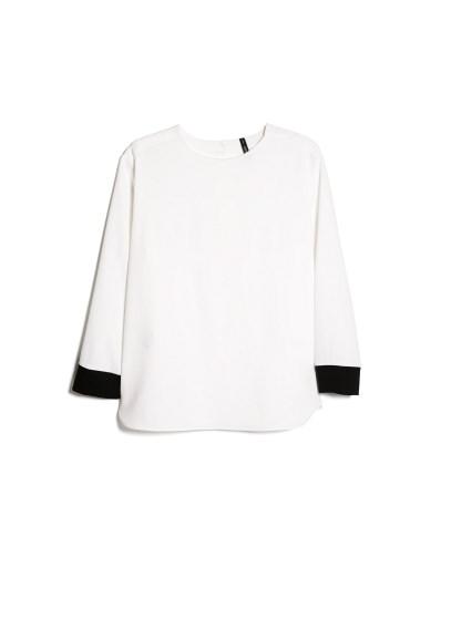 contrast cuff blouse