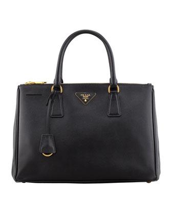 Prada Saffiano Small Double-Zip Executive Tote Bag, Black - Neiman Marcus