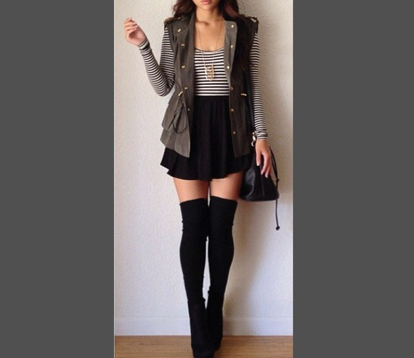 shirt skirt striped shirt vest knee high socks thigh highs skater skirt long sleeved shirt necklace ankle boots purse jacket clothes accessories army green jacket underwear