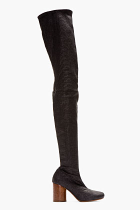 Maison Martin Margiela Black Stretch Thigh-high Boots for women | SSENSE