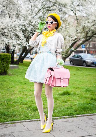 macademian girl dress sunglasses shoes bag jewels scarf belt