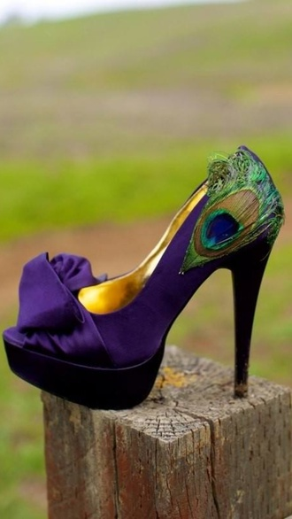 shoes purple shoes peacock high heels
