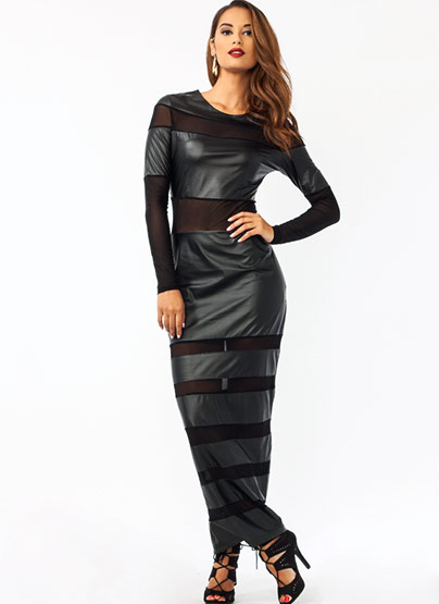 GJ | Mesh N Faux Leather Maxi Dress $52.00 in BLACK - Hard Light: The Perfect Contradiction | GoJane.com
