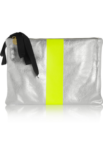Clare Vivier | Flat metallic and neon leather clutch | NET-A-PORTER.COM