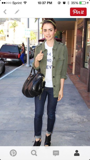 jacket army green jacket lily collins