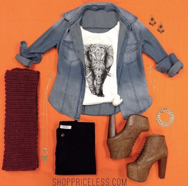 shirt cute black white jeans elephant shoes jeans
