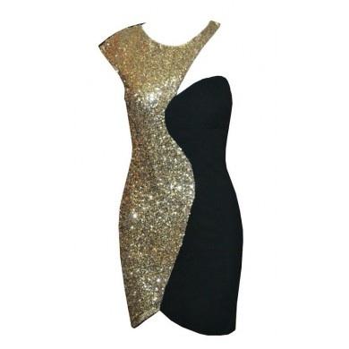 Black Cocktail Dress - One shoulder sequin dress   UsTrendy