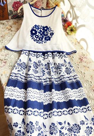 littledaisy | Tribal Blue Floral Print Crochet Lace Sleeveless Maxi Dress  | Online Store Powered by Storenvy
