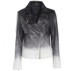 Barneys Originals Women's Black White Ombré Leather Asymmetric Biker Jacket