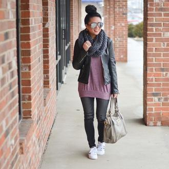 morepiecesofme blogger sunglasses jewels scarf jacket sweater bag shoes black leather jacket handbag grey bag sneakers