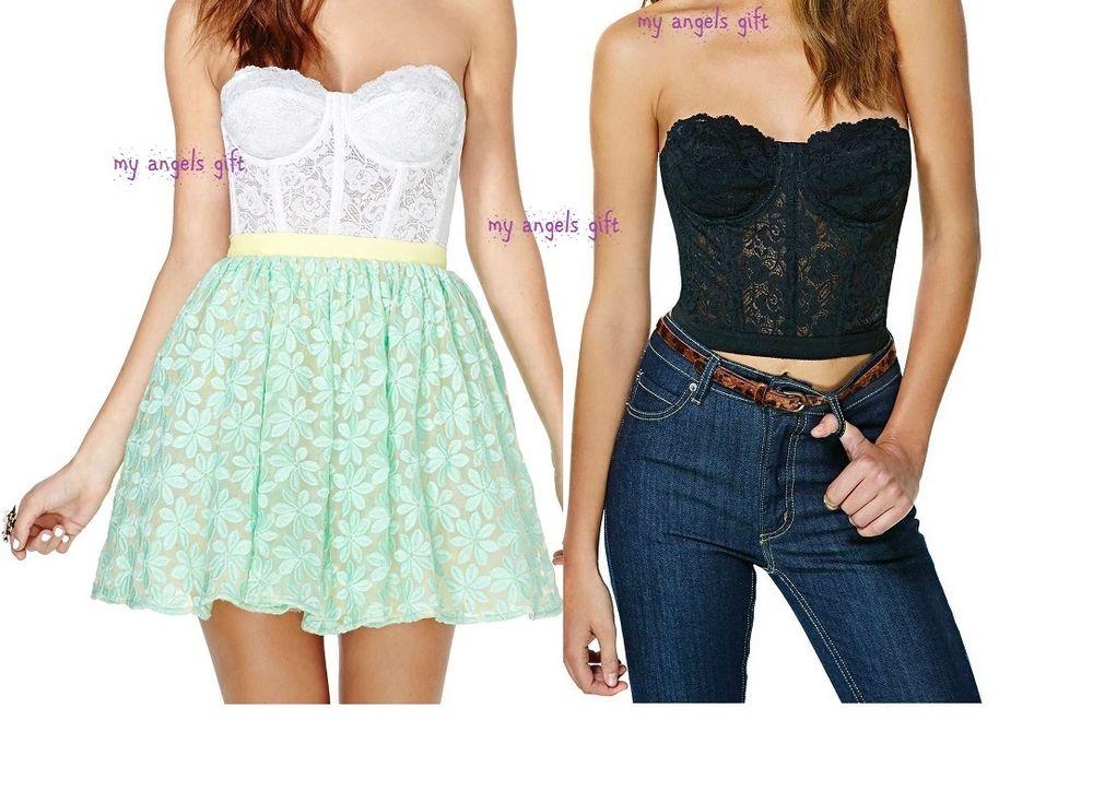 Floral Lace Crop Top Bustier Corset Bra Bralette Strapless Bodycon Cami Top   eBay