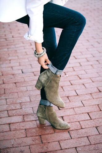 shoes boots suede heel low low heel ankle boots heeled grey taupe booties zip jeans cuffed blouse white bracelets jewels short boots tumblr khaki mid heel boots dark blue blue jeans cuffed jeans