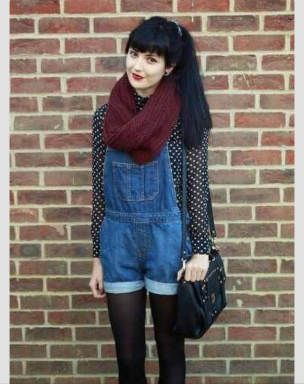 shorts overalls polka dots red leather bag boho hipster grunge alternative cute blouse scarf