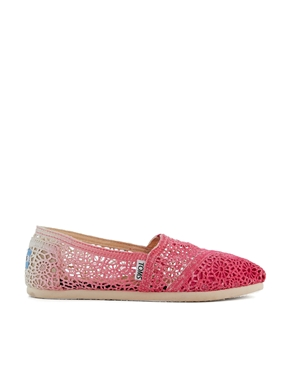 Toms | Toms Fuschia Dip Dyed Crochet Classic Flat Shoes at ASOS