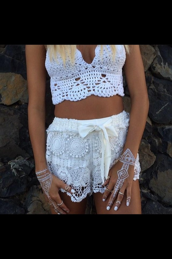 top lace crop top shorts