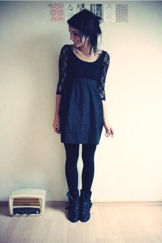 dress black dentelle short