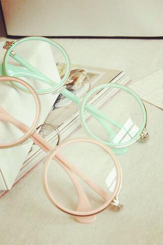 sunglasses eyeglasses kawaii pink mint pale pastel glasses