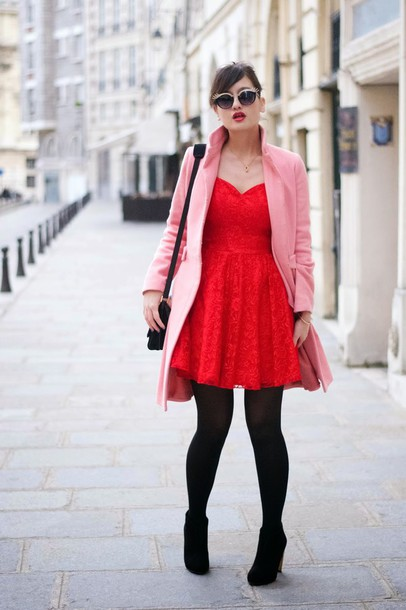 meet me in paree blogger red dress pink coat