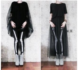 dress goth skeleton black dress skirt bones halloween witch halloween costume emo