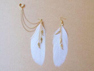 jewels gold bronze ear cuff feathers boho jewelry feather earrings boho bohemian jewelry earrings wings