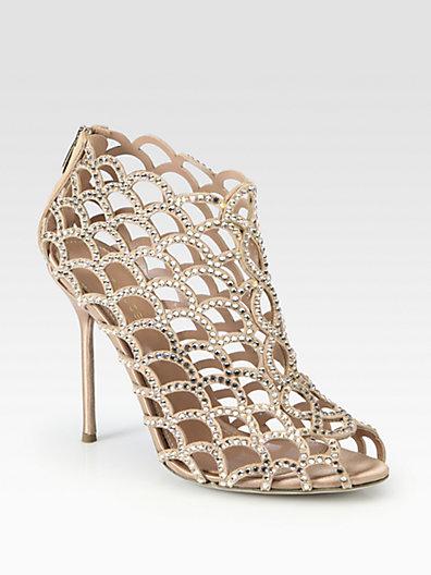 Sergio Rossi - Suede and Swarovski Crystal Mermaid Ankle Boots - Saks.com