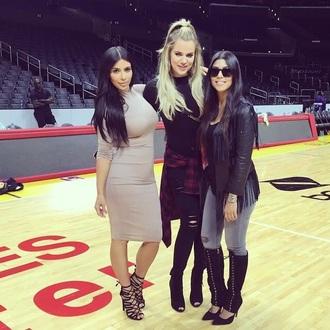 coat turtleneck dress jacket fringes dress kourtney kardashian khloe kardashian kim kardashian kardashians jeans sandals shoes
