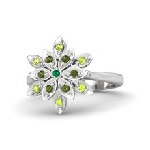 Round Emerald Sterling Silver Ring with Peridot & Green Tourmaline   Dahlia Ring   Gemvara
