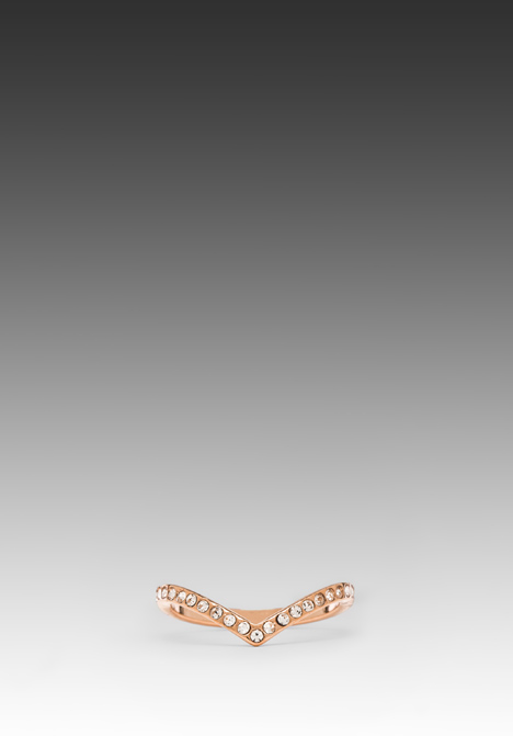 VITA FEDE Ultra Mini V Crystal Ring in Rosegold/Clear at Revolve Clothing - Free Shipping!