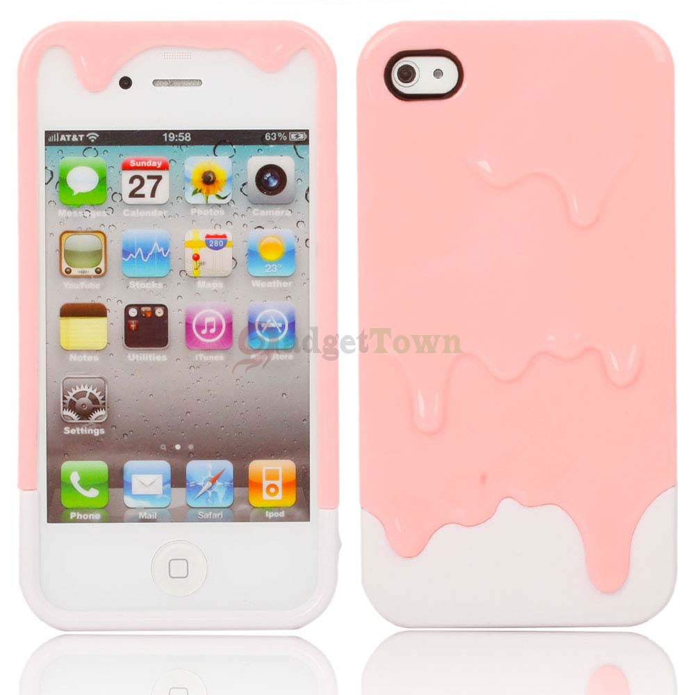 New Polymer 3D Carbonate Melt Ice Cream Hard Case for iPhone 4 4G 4S Pink White   eBay
