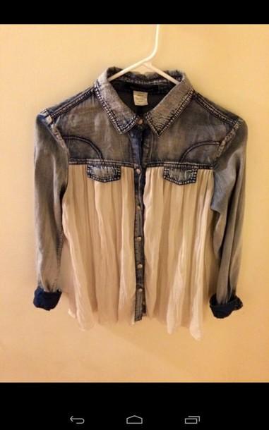 blouse shirt top denim silk button up blouse button down