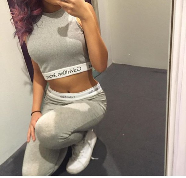 Jeans Calvin Klein One Piece Outfit Grey White Crop