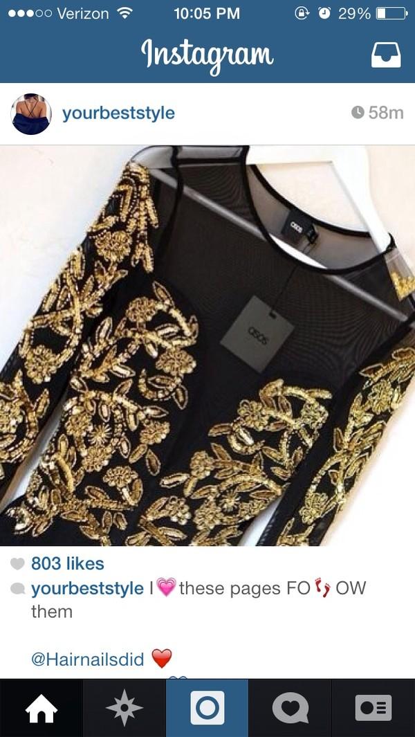 dress gold sequins black