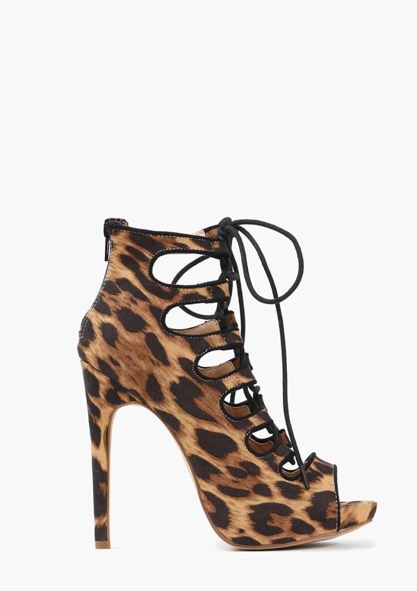 shoes leopard print pumps lace up