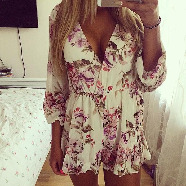 floral floral floral dress summer dress romper floral romper combinaison short combi-short