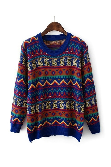Ethnic Style Color Block Printed Sweater [FKBJ10343]- US$19.99 - PersunMall.com