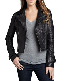 Cusp by Neiman Marcus Quilted-Panel Convertible Leather Jacket