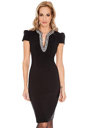Embellished Neckline Cap Sleeve Fitted Dress