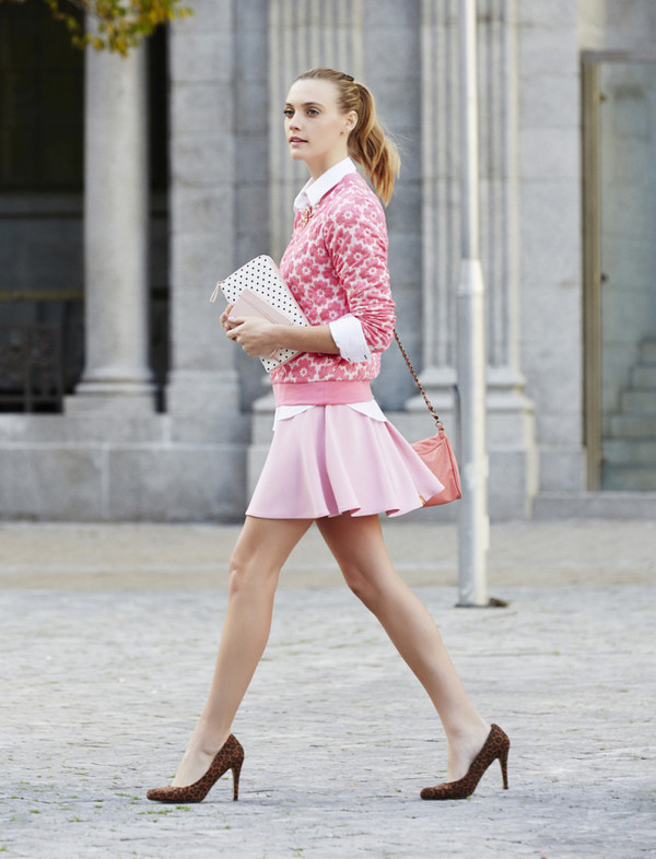 my life in pink shirt skirt bag shoes
