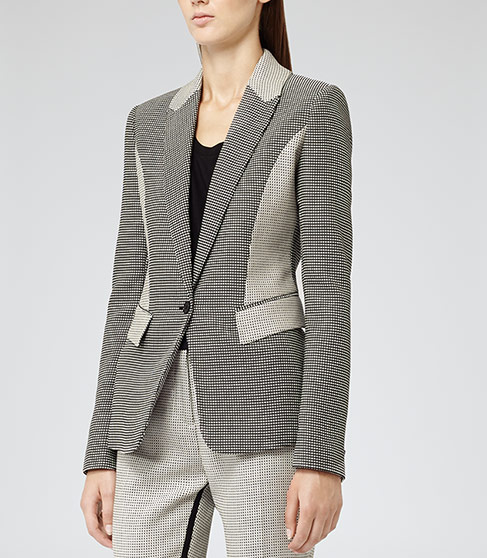 Ashberry Black/white Contrast Texture Jacket - REISS