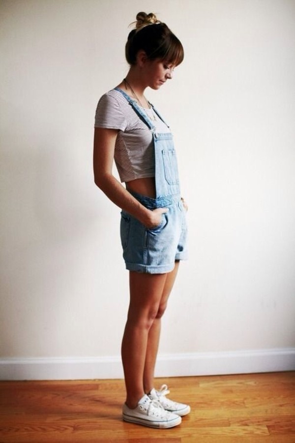 shorts denim denim overalls denim shorts shirt shoes jacket overalls old cute crop tops t-shirt striped crop top pants short overalls jewels spring summer casual crop tops light blue longer length jumpsuit crop tops style rustic