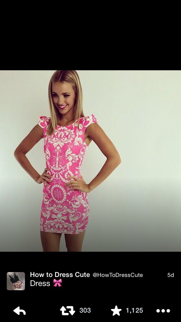dress pink floral summer cute girly