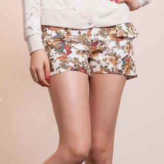 Ruffle-Trim Floral-Print Shorts - Life 8 | YESSTYLE