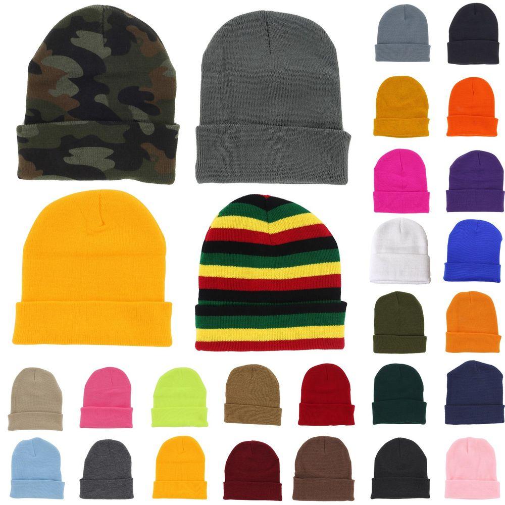 Plain Beanie Knit Ski Cap Skull Hat Warm Solid Color Winter Cuff New Blank Beany | eBay