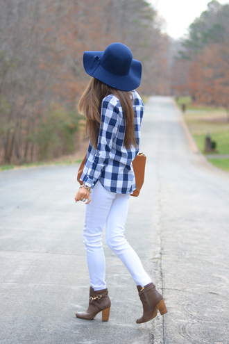 southern curls and pearls blogger floppy hat black jeans brown leather boots flannel shirt top hat jeans bag shoes jewels make-up