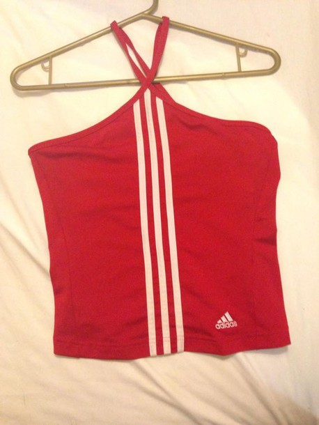 adidas halter top red top