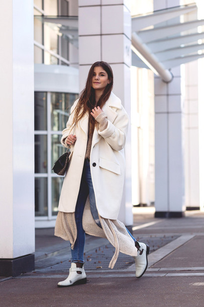 the fashion fraction blogger coat cardigan sweater jeans shoes bag